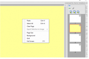 Right click anywhere on the canvas to access page properties, grids, etc.
